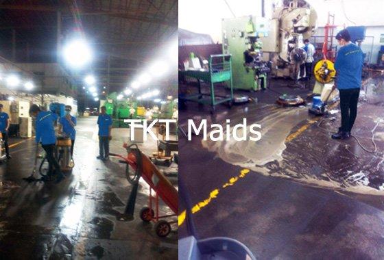 Hình ảnh: vệ sinh sàn nhà xưởng nhiềm dầu mỡ nặng - TKT Maids