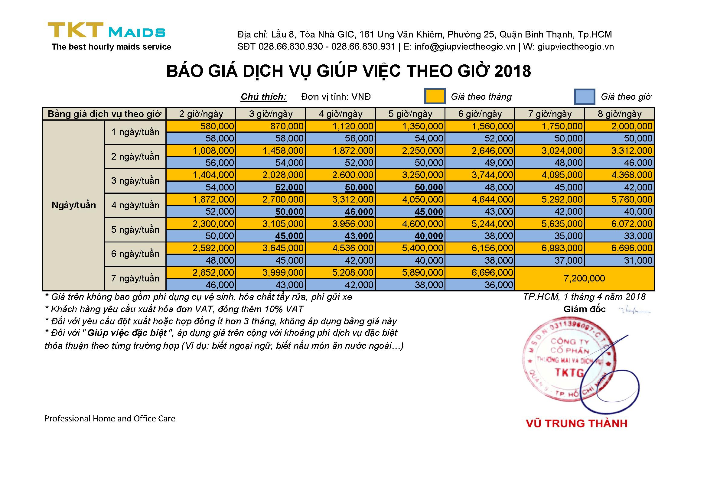 bảng giá dịch vụ giúp việc nhà theo giờ TKT Maids 2018