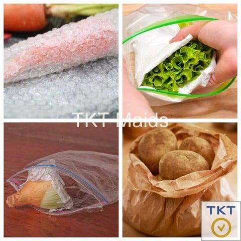 bọc giấy khi bảo quản rau củ quả trong tủ lạnh