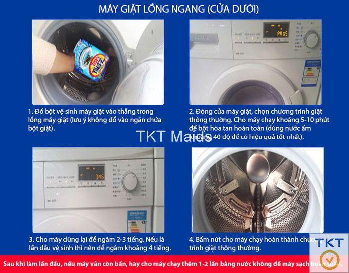 hướng dẫn vệ sinh lồng máy giặt bằng chương trình và hóa chất cho máy giặt cửa ngang