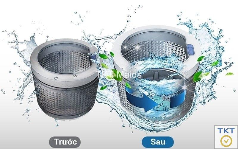 vệ sinh lồng máy giặt bằng chế độ tự động