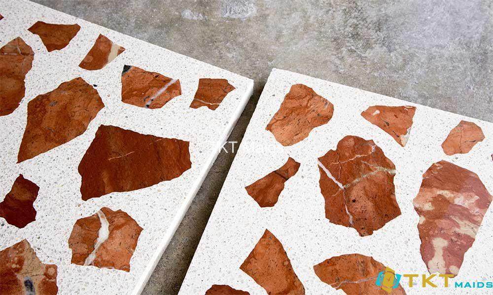 Sàn đá Terrazzo cao cấp trộn đá đỏ