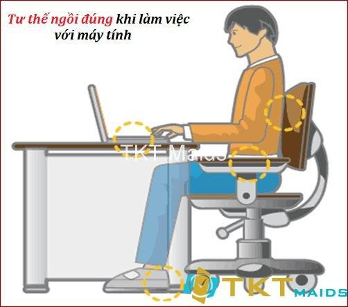 Tư thế làm việc đúng khi làm việc với máy tính