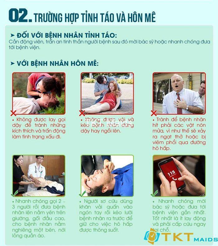 Sơ cứu đối với bệnh nhân tỉnh táo và hôn mê
