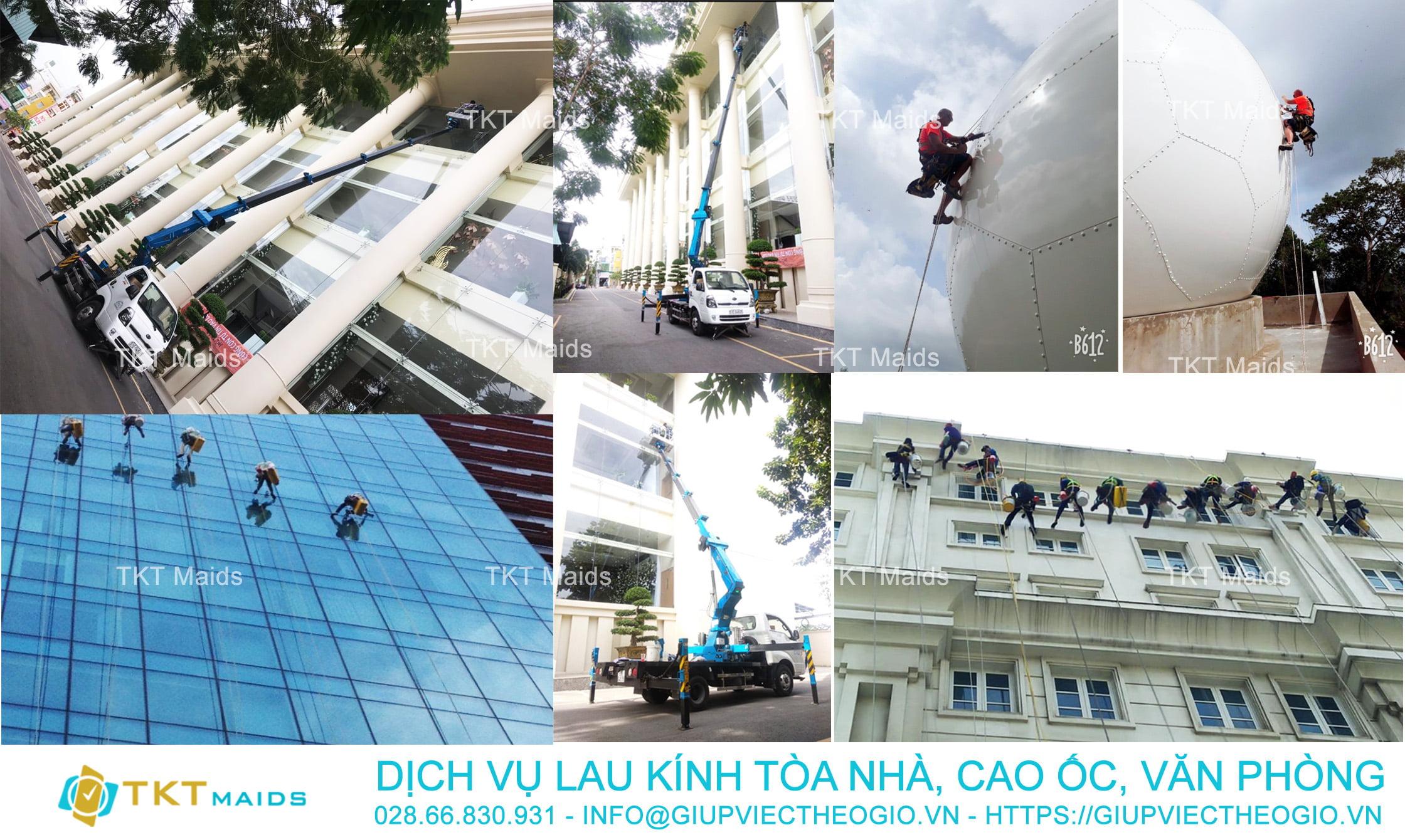 dịch vụ lau kính tòa nhà cao ốc văn phòng TKT Maids