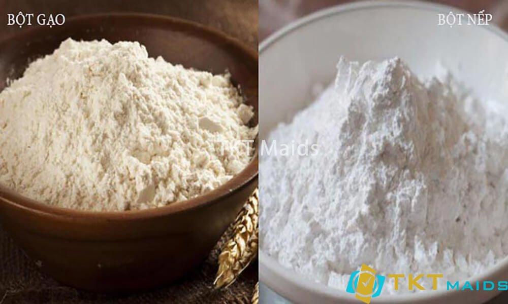 Title: Hình ảnh: Dùng bột gạo và bột nếp để vệ sinh sàn nhà bếp