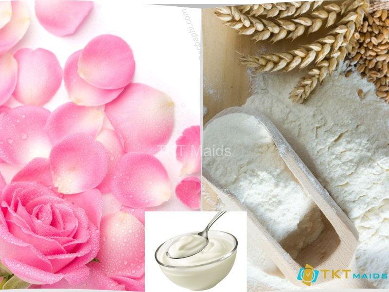 mặt nạ hoa hồng với bột mì và sữa chua